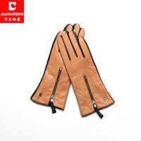 2017 зимние Для женщин кожаные перчатки высокое качество из натуральной кожи коричневого цвета на молнии варежки calharmon тренировки перчатки ...