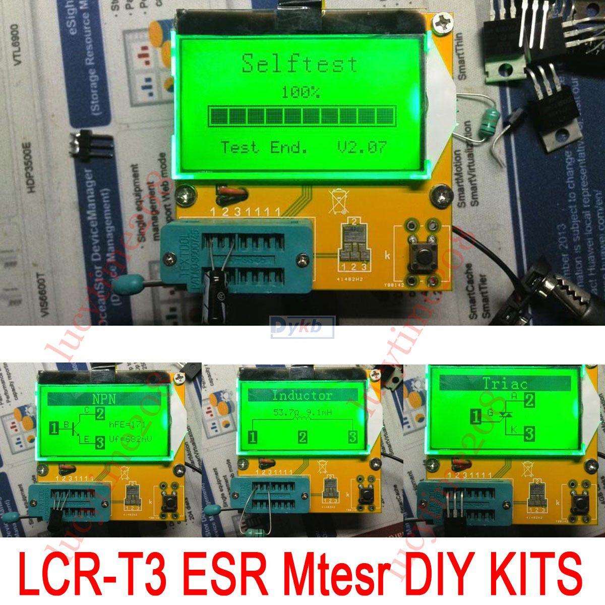 Nueva DIY Lcd LCR-T3 kits Mega328 Transistor Tester de Diodos Triodo condensador + ESR Medidor LCR inductancia + resistencia + SCR
