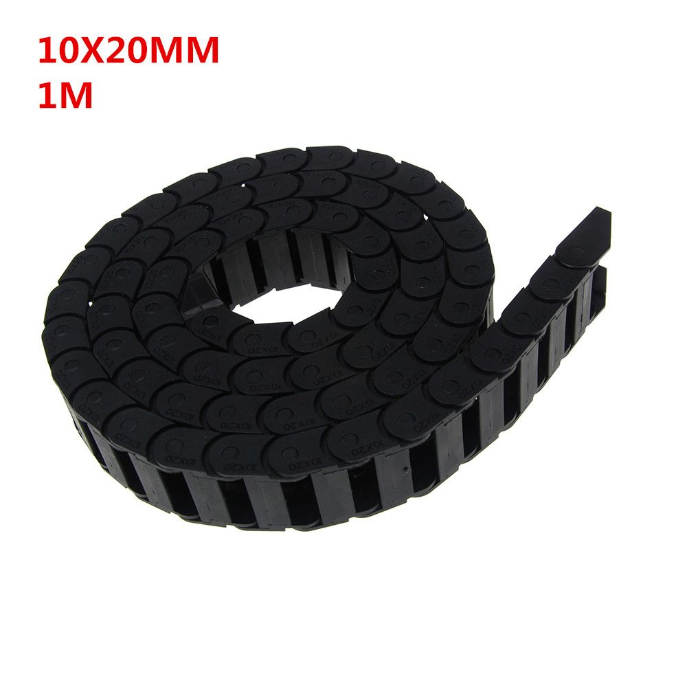 10 x 20mm 10*20mm L1000mm Cable Drag Chain Wire Carrier with End Connectors for CNC Router Machine Tools