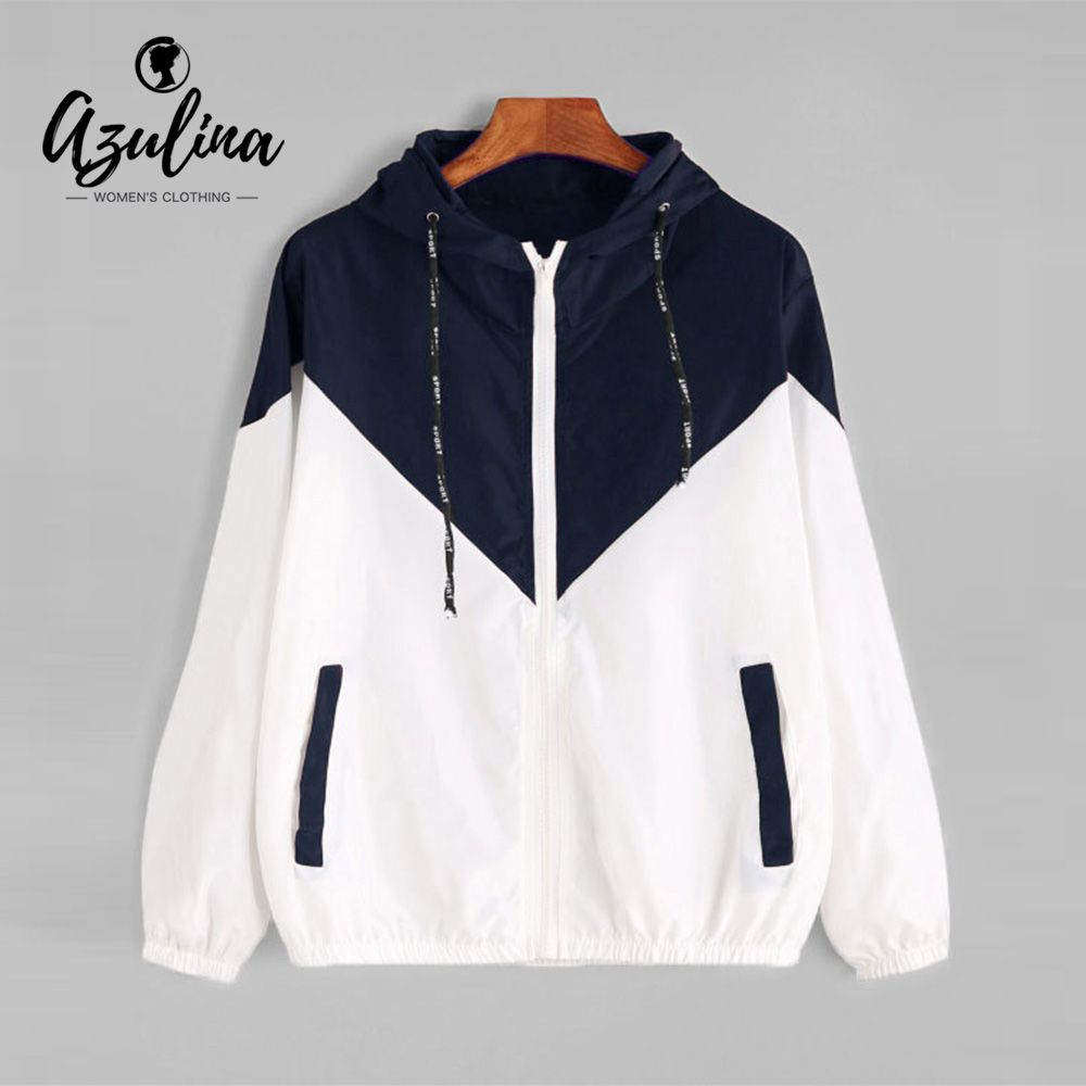 AZULINA Hooded Two Tone Windbreaker Jacket Patchwork Jackets Women Color Block Zipper Jacket 2017 Fall Fashion Casual Outerwear