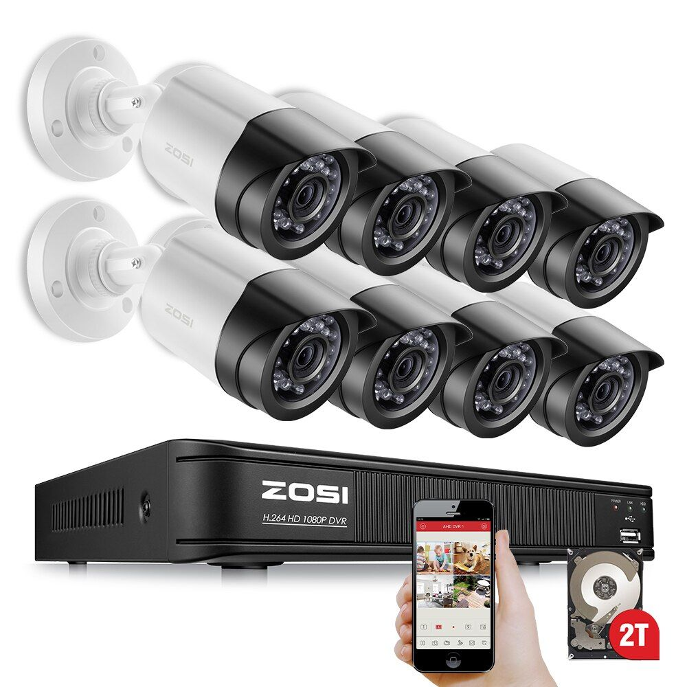 ZOSI 8CH 1080P HD-TVI DVR 8PCS HD 2.0MP 1080P Real Time Outdoor Security Cameras Video DVR Kits CCTV Surveillance System
