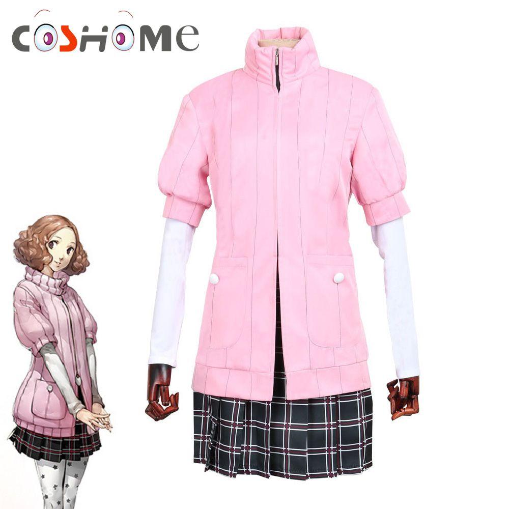 Coshome Persona 5 Haru Okumura Cosplay Costumes Women Girls Halloween Party Dress White Shirts Socks 4pcs Clothing Set S