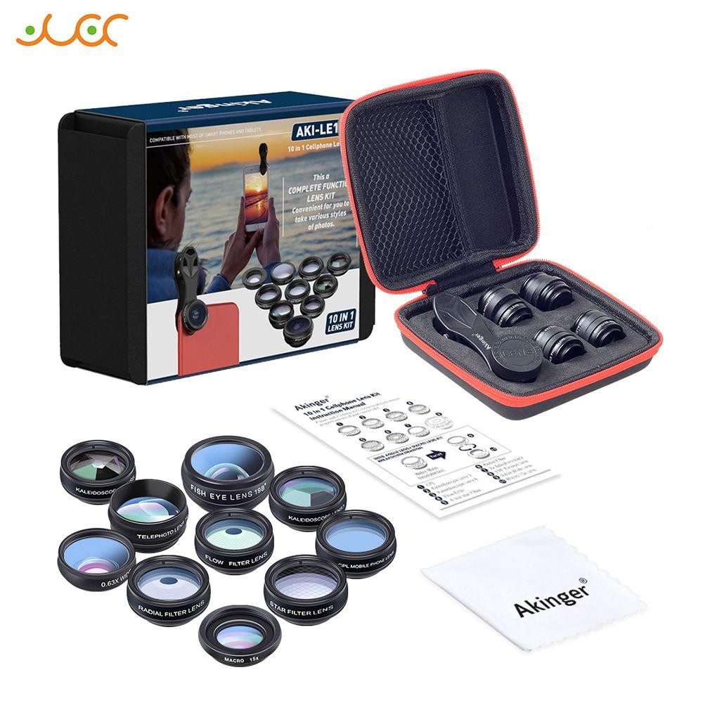 Akinger caméra Lentille en kit d'objectifs pour téléphone mobile 10in1 Fisheye grand-angle macro télescope pour iphone xiaomi note samsung smartphone