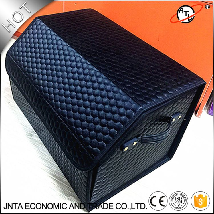 ATL New type football leather car stowing tidying car trunk storage box top grade leather storage  CS08