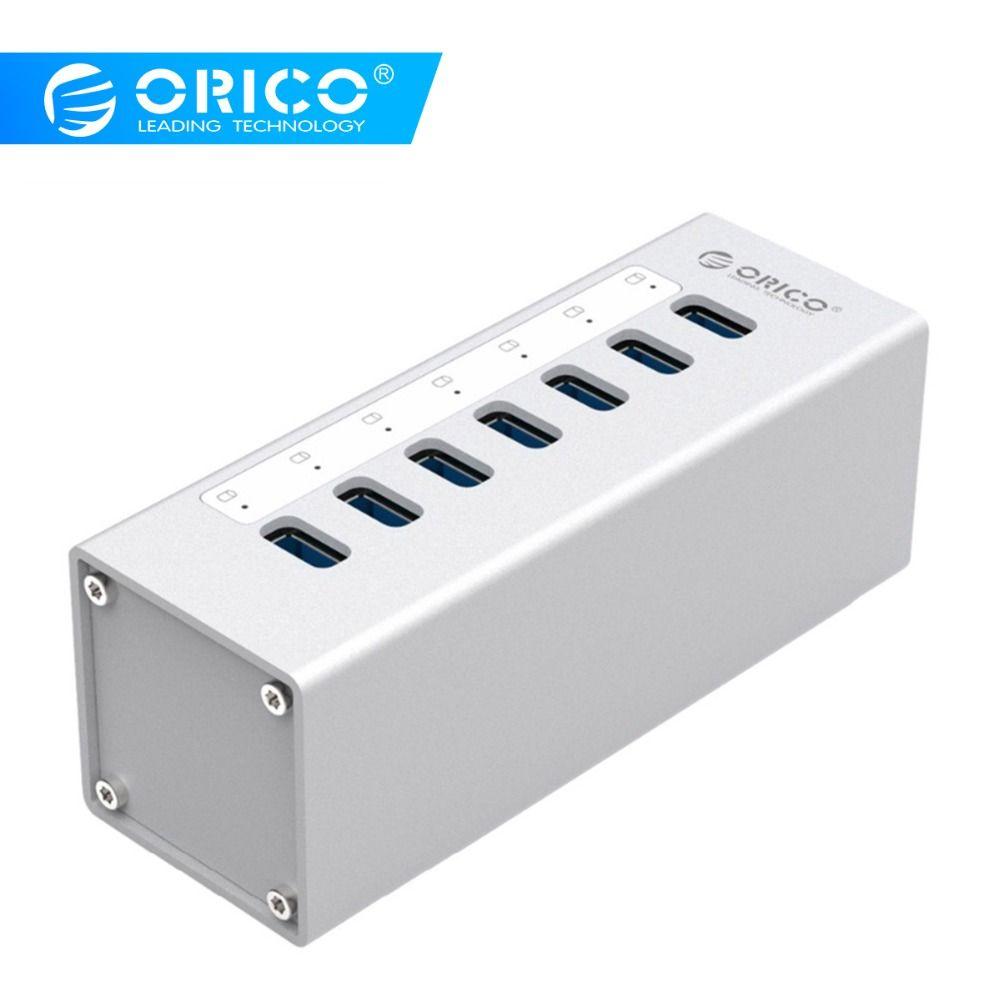 ORICO USB HUB aluminium USB 3.0 HUB externe 7 ports séparateur avec 12 V 2.5A adaptateur secteur et câble de Date pour Macbook Air PC ordinateur portable