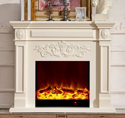 Chimenea de madera W130cm con chimenea eléctrica insertar aire caliente calentador de habitación artificial LED decoración de llama óptica