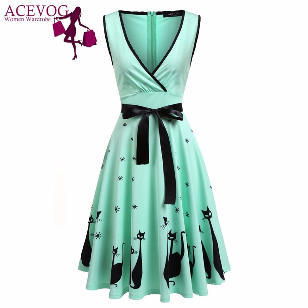 ACEVOG Party Dress Women Clothing Summer Casual Sleeveless Print Cross Front Bow Sexy Deep V Neck Flare Skater Swing Dresses