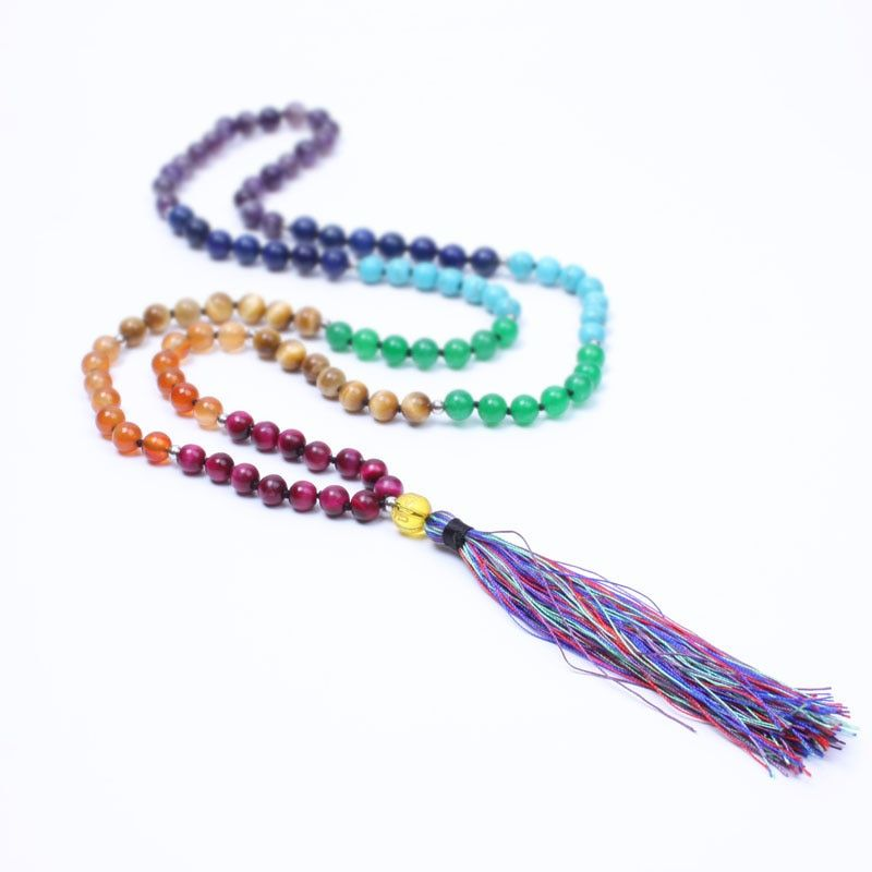 Nouveau 7 Chakra Mala yogi collier en pierre naturelle perlé gland long collier pour femmes méditation bijoux maxi collier dropshippin