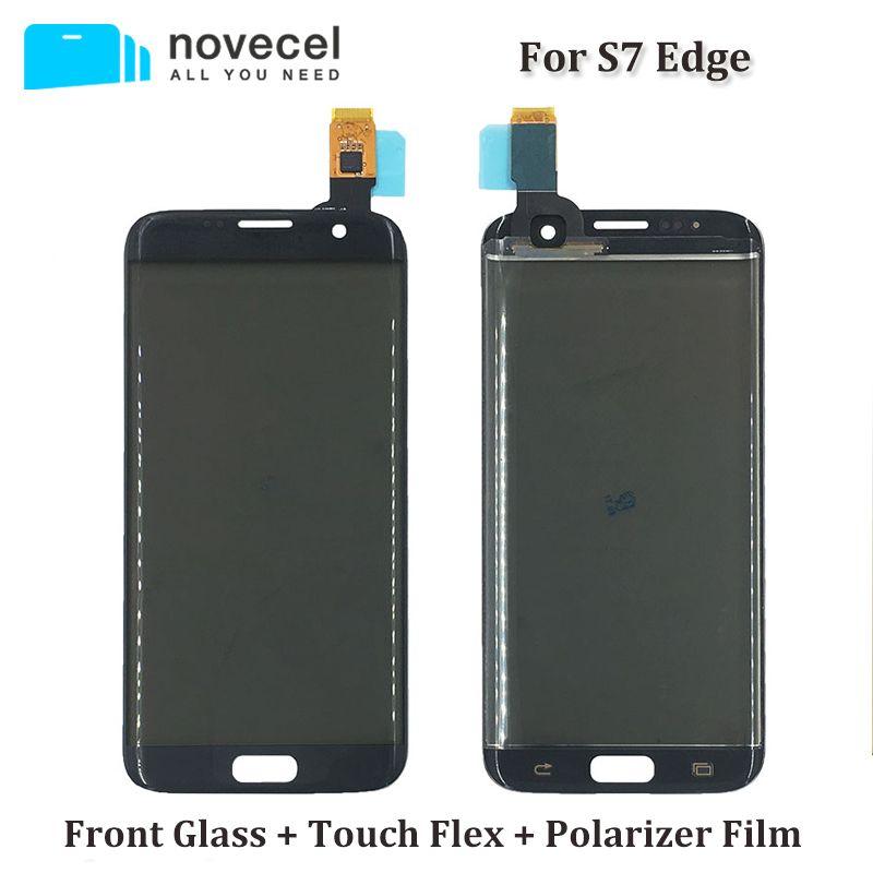 Novecel ORI G935F Avant En Verre + Écran Tactile + Polarisant Film de L'assemblée Pour Samsung S7 Bord Écran Tactile Digitizer remplacement