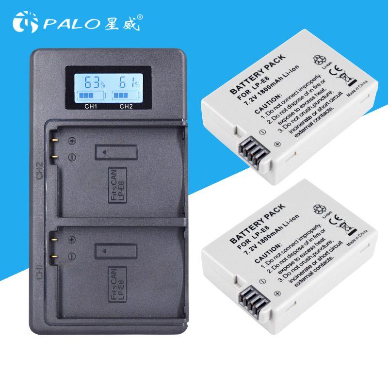 2Pc LP-E8 LPE8 LP E8 Camera Battery Bateria Batterie AKKU + LCD USB Charger For Canon EOS 550D 600D 650D 700D Rebel X4 X5 X6i X7