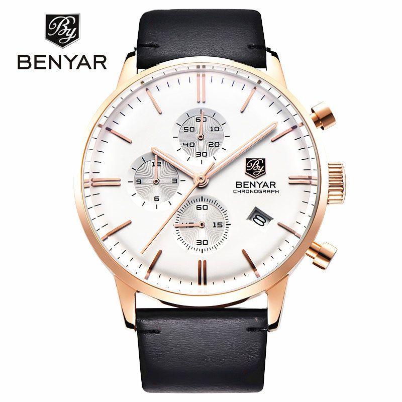 Fashion uhren männer chronograph sport dive 30 mt echtem leder quarzuhr luxusmarke benyar relogio masculino