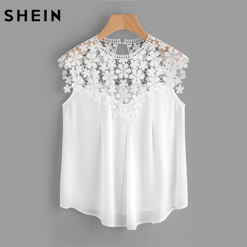 SHEIN Keyhole Back Daisy Lace Shoulder Shell Top Summer Blouses for Women <font><b>2017</b></font> White Cap Sleeve Elegant Blouse