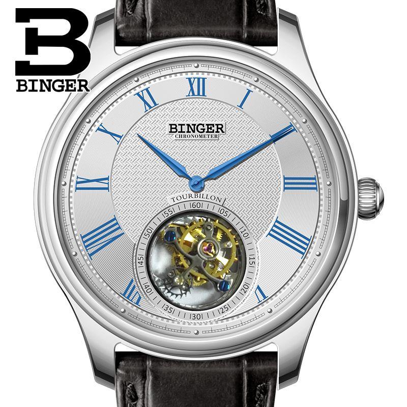 Luxus Schweiz BINGER Uhren Männer Seagull Automatische Movemt Uhr Männliche Tourbillon Sapphire Alligator Verstecken Mechanische B80803-1
