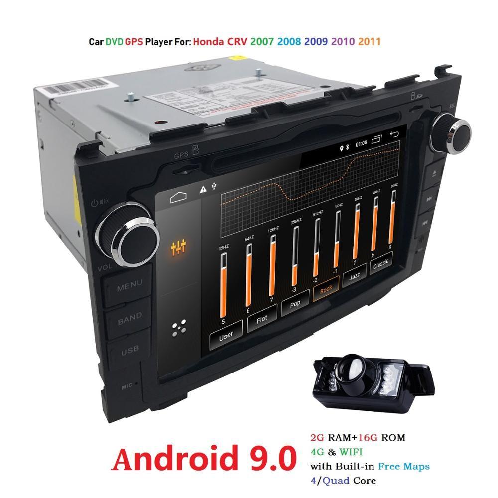 Android 9.0 HD 1024*600 voiture lecteur DVD Radio pour Honda CRV 2007 2008 2009 2010 2011 4G WIFI GPS Navigation tête unité 2 din 2 gramme