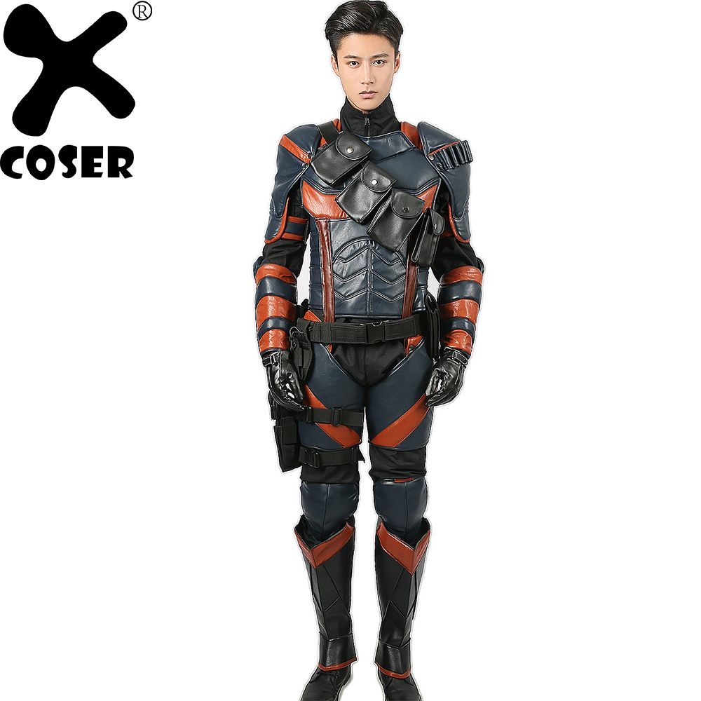 XCOSER Deathstroke Costume Batman Arkham Knight Cosplay Deluxe PU Leather Armor Outfits Superhero Suit Halloween Costume for Men