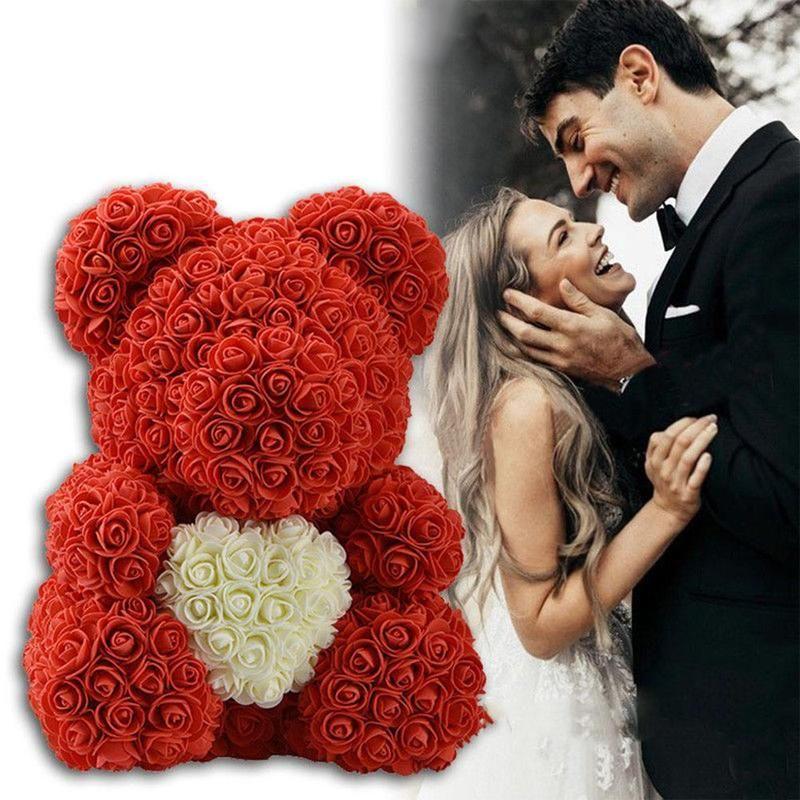 23/40 cm ours de Roses saint valentin cadeau fleurs artificielles maison mariage Festival bricolage décoration de mariage boîte cadeau couronne artisanat
