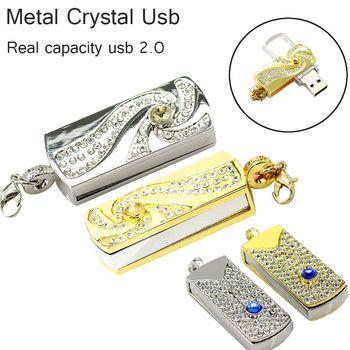 Capacité réelle Métal Cristal or rotatif Porte-clés USB 2.0 USB Flash lecteur 64 GB 8 GB 16 GB 32 GB Memory Stick disque sur clé Stylo lecteurs