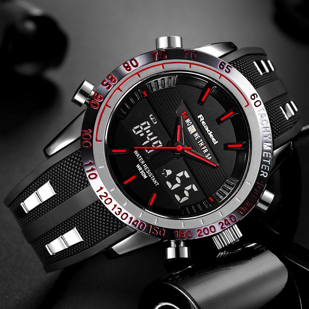 Readeel marque Sport montre hommes montres Top marque de luxe hommes montre-bracelet LED étanche électronique numérique mâle relogio masculino