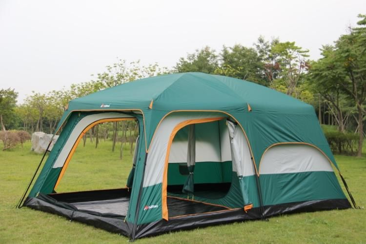 Ultralarge one hall two bedroom double layer 6-12 person use outdoor party family camping tent
