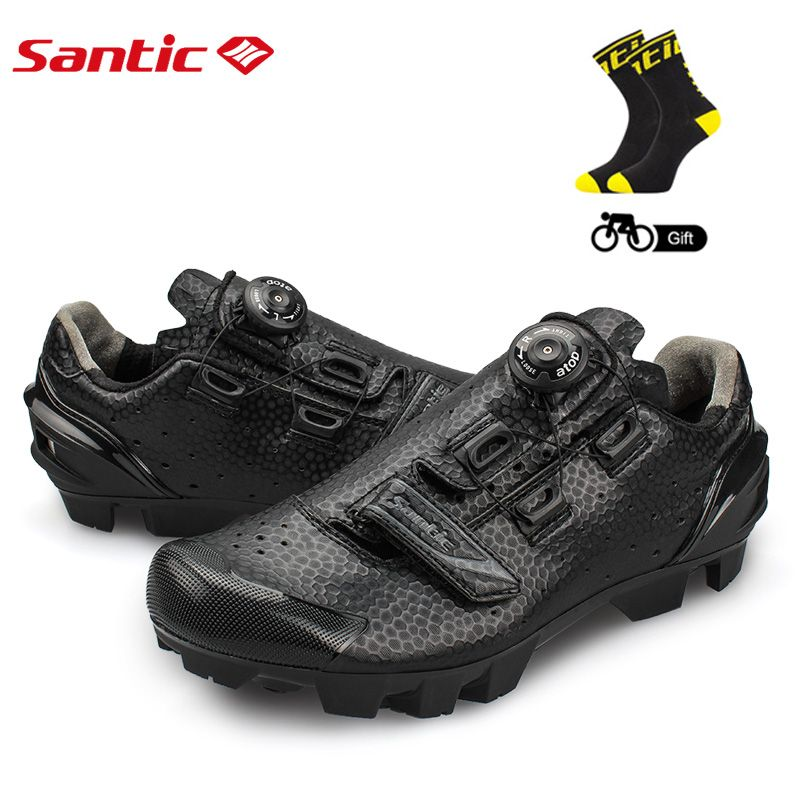 SANTIC Men Cycling Shoes Breathable Ultralight Self-Locking Mtb Mountain Bike Sneakers Athletic PU+TPR Bicycle Shoes Ciclismo
