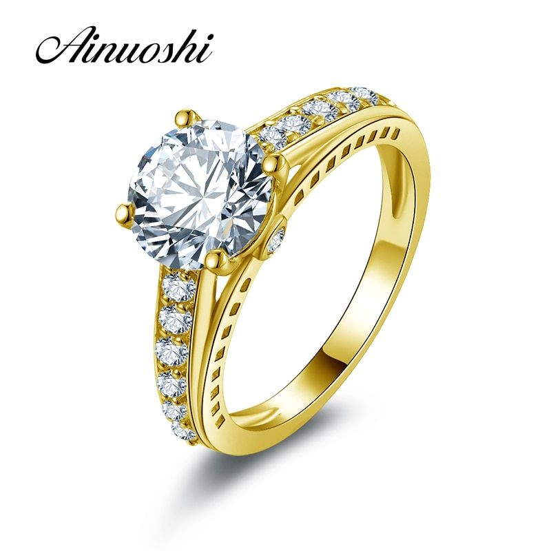 AINUOSHI 10k Solid Yellow Gold Wedding Rings 2 ct Lovers Promise Band Round Simulated Diamond Women Engagement Anniversary Ring