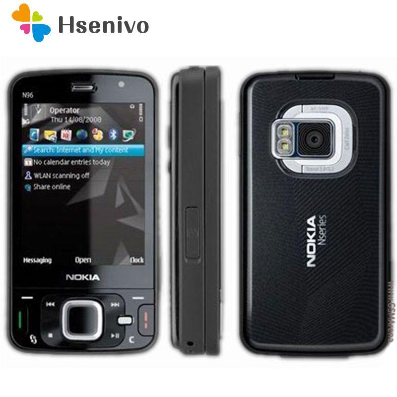 100% unlocked original Nokia N96 phone GSM 3G 16GB internal memory WIFI GPS 5MP,1 year warranty Refurbished Free shipping
