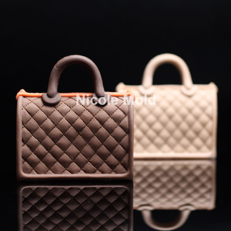 Luxury Handbag Design Silicone Mold Fondant Cake Decorating Tools Diamond Lattice Bag Shape Chocolate Handmade Soap Candle Mould