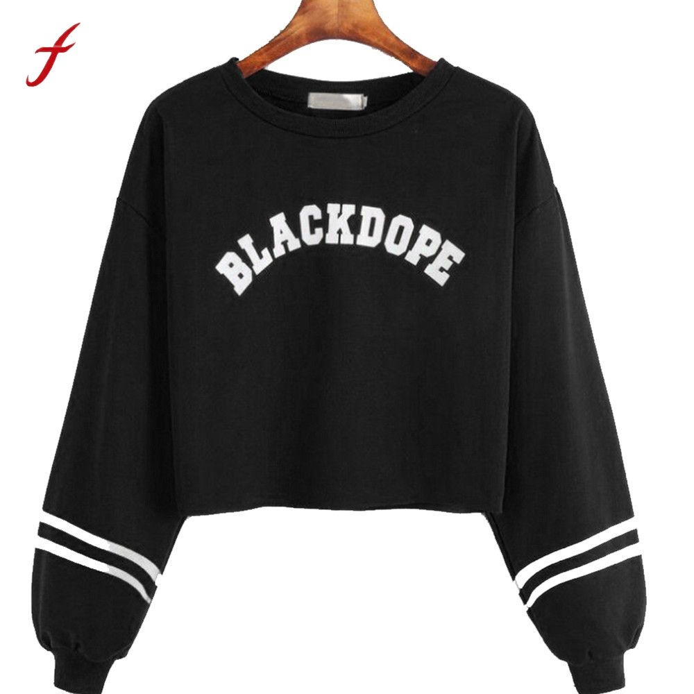 FEITONG Feamle Sweatshirt Women Casual Long Sleeve Letter Print Jumper Pullover Autumn Winter Fashion O-Neck Tops Blusa Shirts