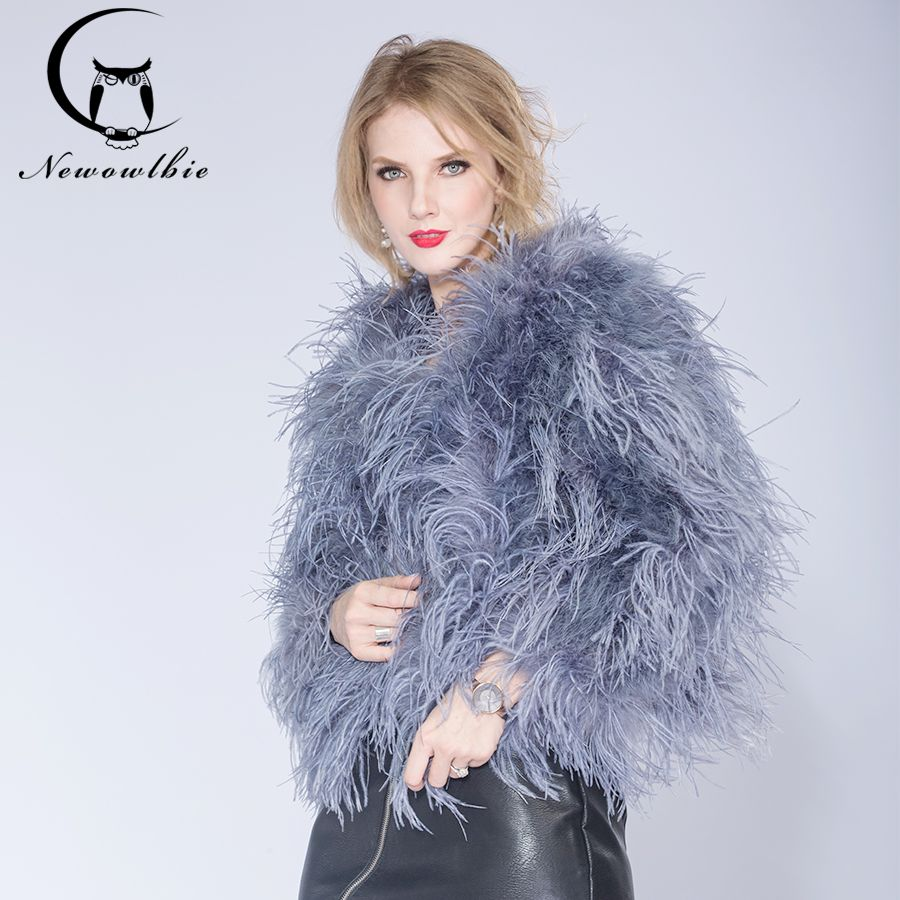 2018 winter Ostrich fur jacket feather fur coat casual long-sleeved Australia imported fur ostrich jacket Ladies nightclub coat