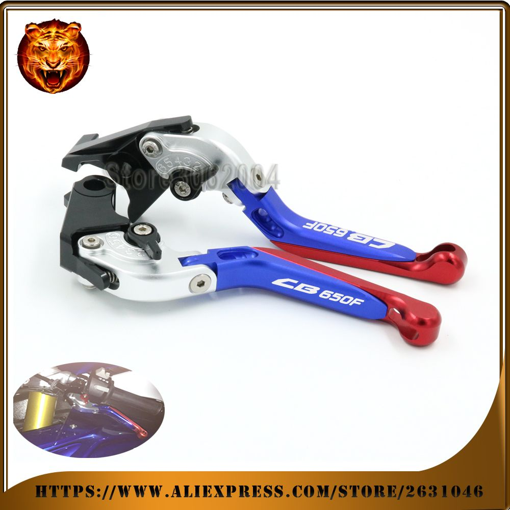 Motorcycle  Adjustable Folding Extendable Brake Clutch Lever For HONDA CB650F CB650 2014 2015 2016 2017 Silver+blue CNC 2015 red