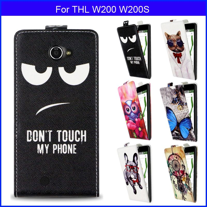 Fashion Patterns Cartoon Luxury Flip up and down PU Leather Case for THL W200 W200S,Free gift