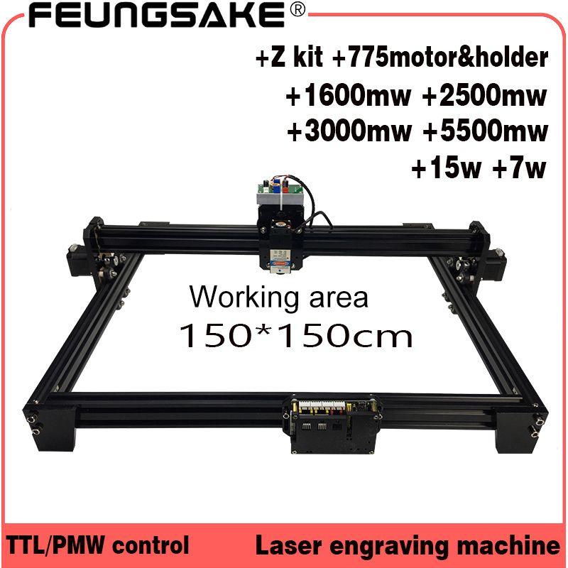 Cnc 150*150 cm 15 w laser maschine PMW TTL steuerung, 7 w laser carving maschine 5500 mw Laser stecher, Laser Gravur Maschine 1,5 m bereich