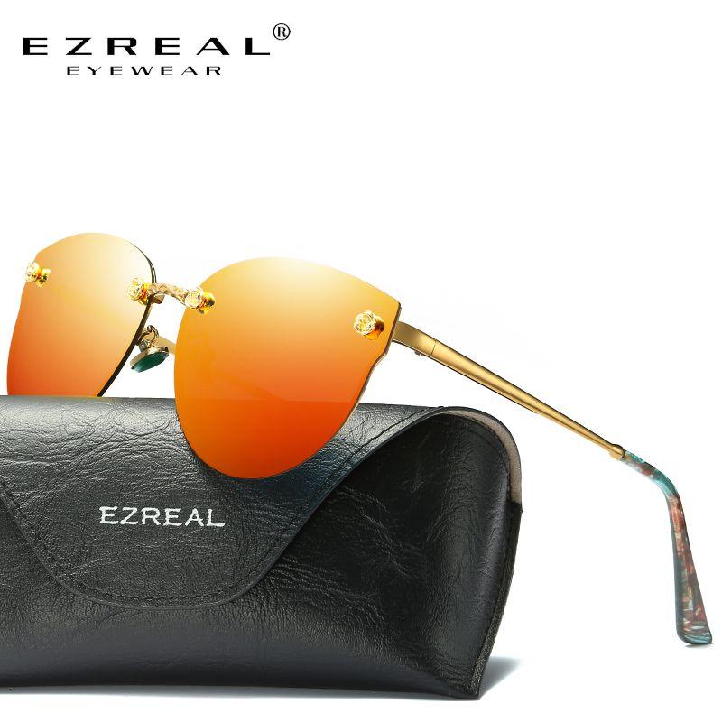 EZREAL Mode Marke Designer Frauen Polarisierte Sonnenbrille Klassische Designer Shades Metallrahmen Luxus Sonnenbrille 382