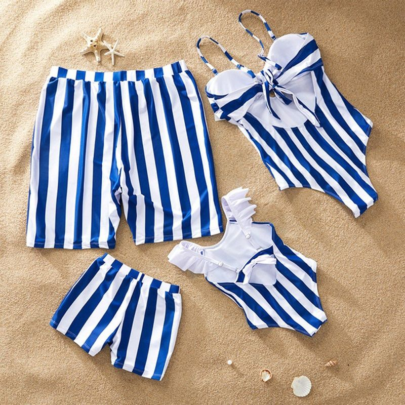 Plage famille maillots de bain rayé correspondant maillot de bain mère fille bikini papa son maillot de bain famille correspondant vêtements tenues look