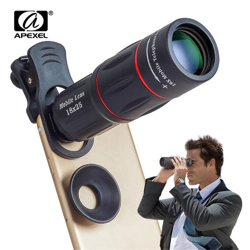 APEXEL 18X Telescope Zoom Mobile Phone Lens for iPhone 8 Samsung S9 Smartphones universal clip Telefon Camera Lens with tripod