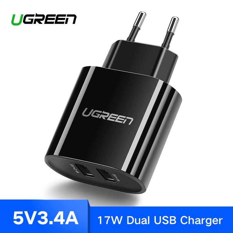 Ugreen USB Chargeur 3.4A 17 w pour iPhone 8X7 6 iPad Smart USB Chargeur Mural pour Samsung Galaxy s9 LG G5 Double Mobile Téléphone Chargeur