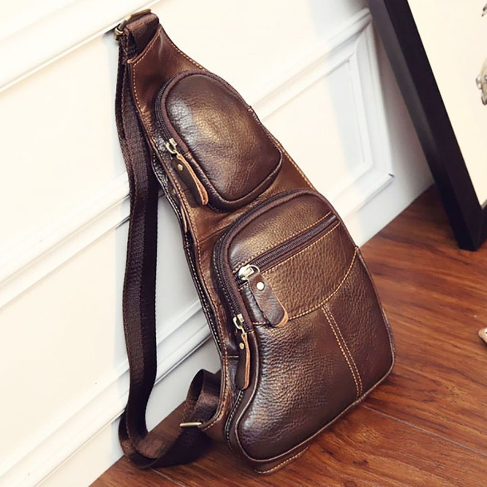 High Quality Men Genuine Leather Cowhide Vintage Sling Chest Back Day Pack <font><b>Travel</b></font> Fashion Cross Body Messenger Shoulder Bag