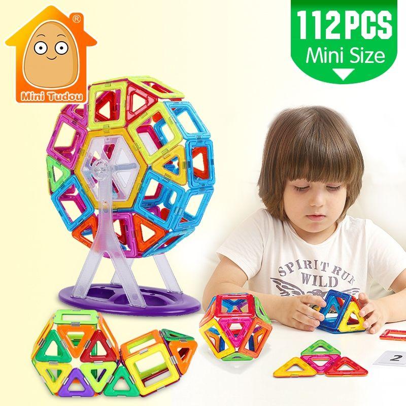 MiniTudou Mini 112PCS Magnetic Blocks Construction Enlighten Assembly Building Blocks Toys Kids Educational DIY Plastic Bricks