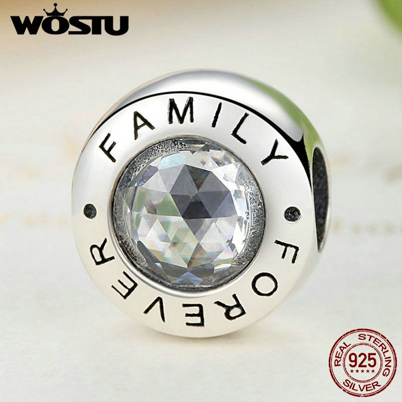 High Quality 925 Sterling Silver Family Forever Charm Beads With Clear CZ Fit Original WST Bracelet Authentic Jewelry Gift