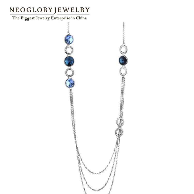 Neoglory Austrian Crystal Multi Layer Long Sweater Chain Necklaces for Women Brand  Fashion Jewelry 2017 New CN1