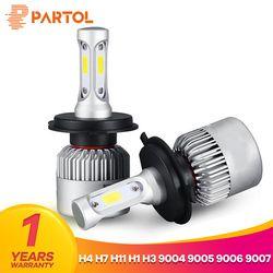Partol S2 H4 H7 H13 H11 H1 9005 9006 H3 9004 9007 9012 COB Светодиодный фар 72 Вт 8000lm автомобиля светодиодный Фары для автомобиля лампы Туман Light 6500 К 12 В
