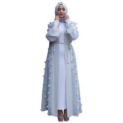 Liffle Fourrure Appliques Cardigan Musulman Abaya Femmes Islamique Robes Longues Robes Kaftan Dubaï Thobe Turquie Vêtements Moyen-Orient Tunique