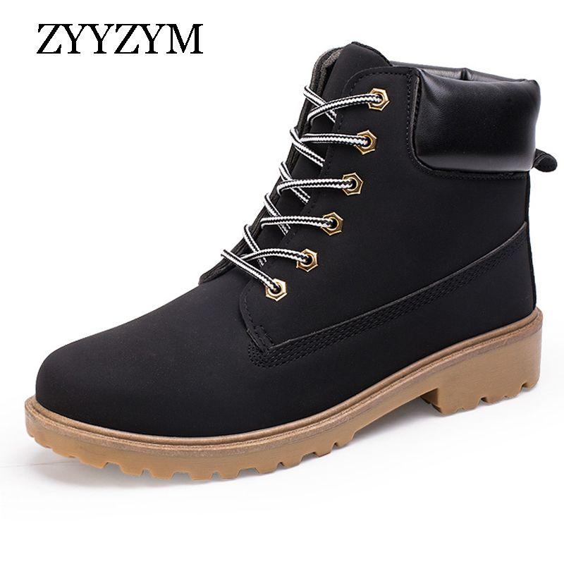 ZYYZYM Nueva Llegada Del Otoño Caliente Del Invierno Botas de Los Hombres de Cuero de LA PU Unisex Estilo de Moda Los Zapatos de Trabajo Masculinos Amante Martin Boot Gran tamaño