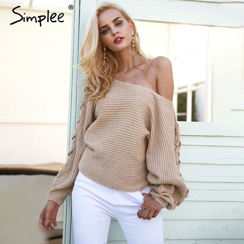 Simplee Sexy lace up <font><b>winter</b></font> knitted sweater pullover Women one shoulder loose sweater jumper Autumn batwing sleeve gray sweater