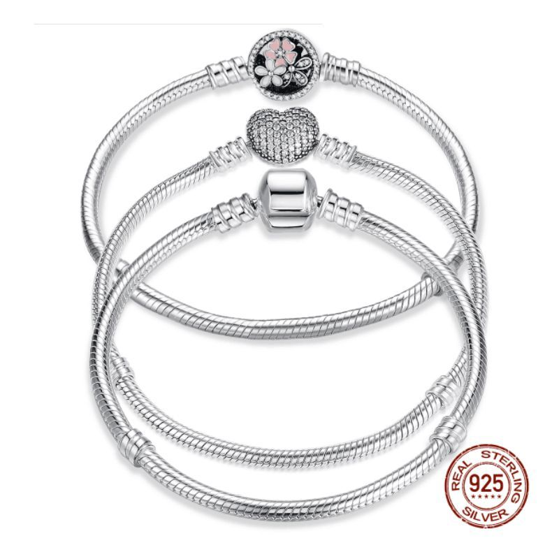 Luxury 100% 925 Sterling Silver Original 7 Styles Chain Bracelet Bangle for Women Fit DIY <font><b>Charm</b></font> Bead Authentic Fine Jewelry Gift
