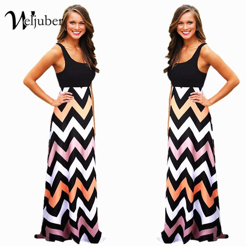 Women Summer Maxi Dress 2018 High Quality <font><b>Striped</b></font> Print Long Boho Dresses Feminine Plus Size Vestido De Festa