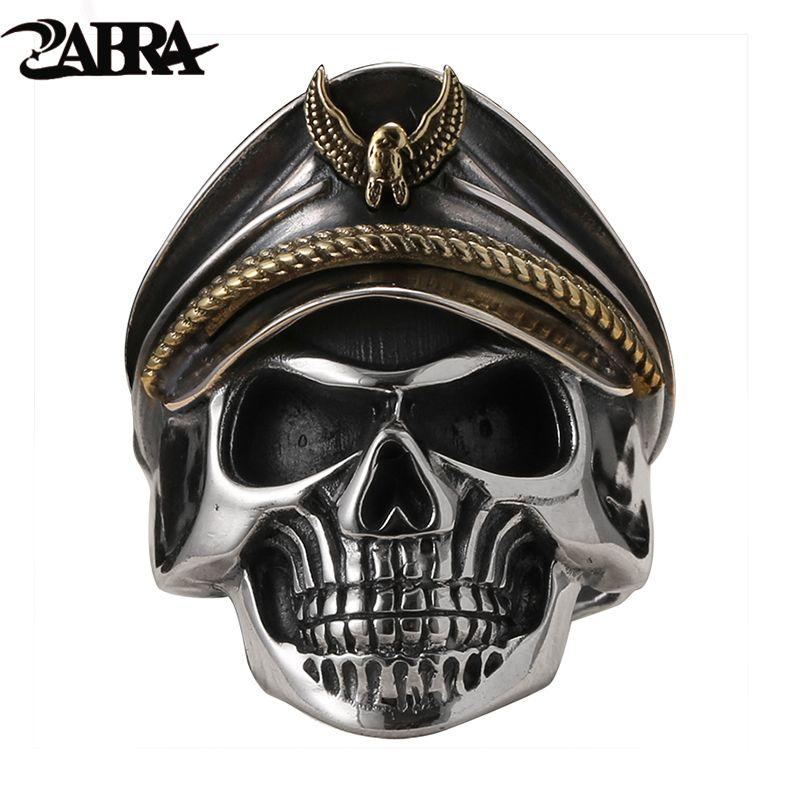 ZABRA 925 Silver World War II Soldier Anniversary Mens Rings Punk Rock Vintage Adjustable Size Skull Ring Biker Men Jewelry