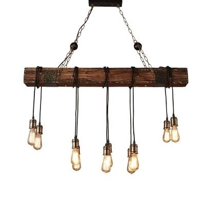 Loft Style Creative Wooden Droplight Edison Vintage Pendant Light Fixtures For Dining Room Hanging Lamp Indoor Lighting