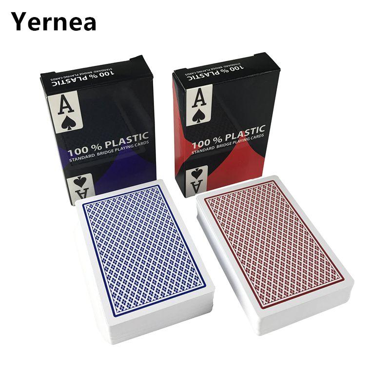 2 Sätze/los Baccarat Texas Hold'em Kunststoff Spielkarten verschleißfeste Wasserdichte Poker Pappe Brücke Poker Spiel Yernea