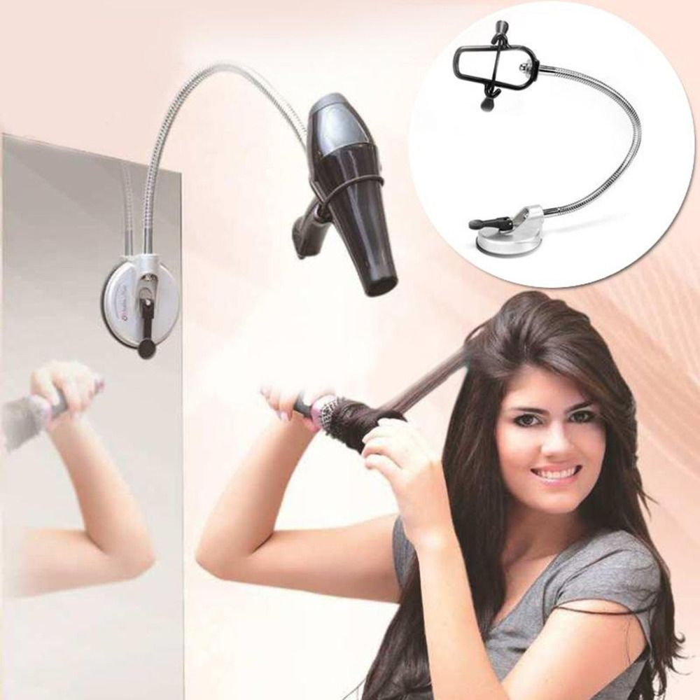 Hands Free Hair Dryer Holder 360 Degrees Rotation Flexible Hairdryer Organizing Holder Stand Rack Suction Cup Pet Grooming Table